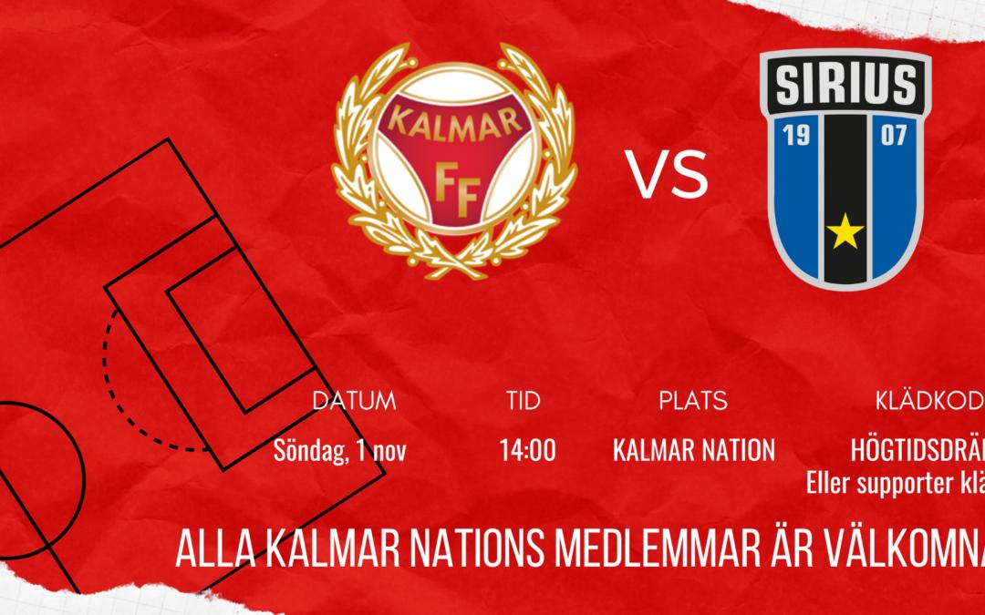 Kalmar FF VS Sirius – inställt